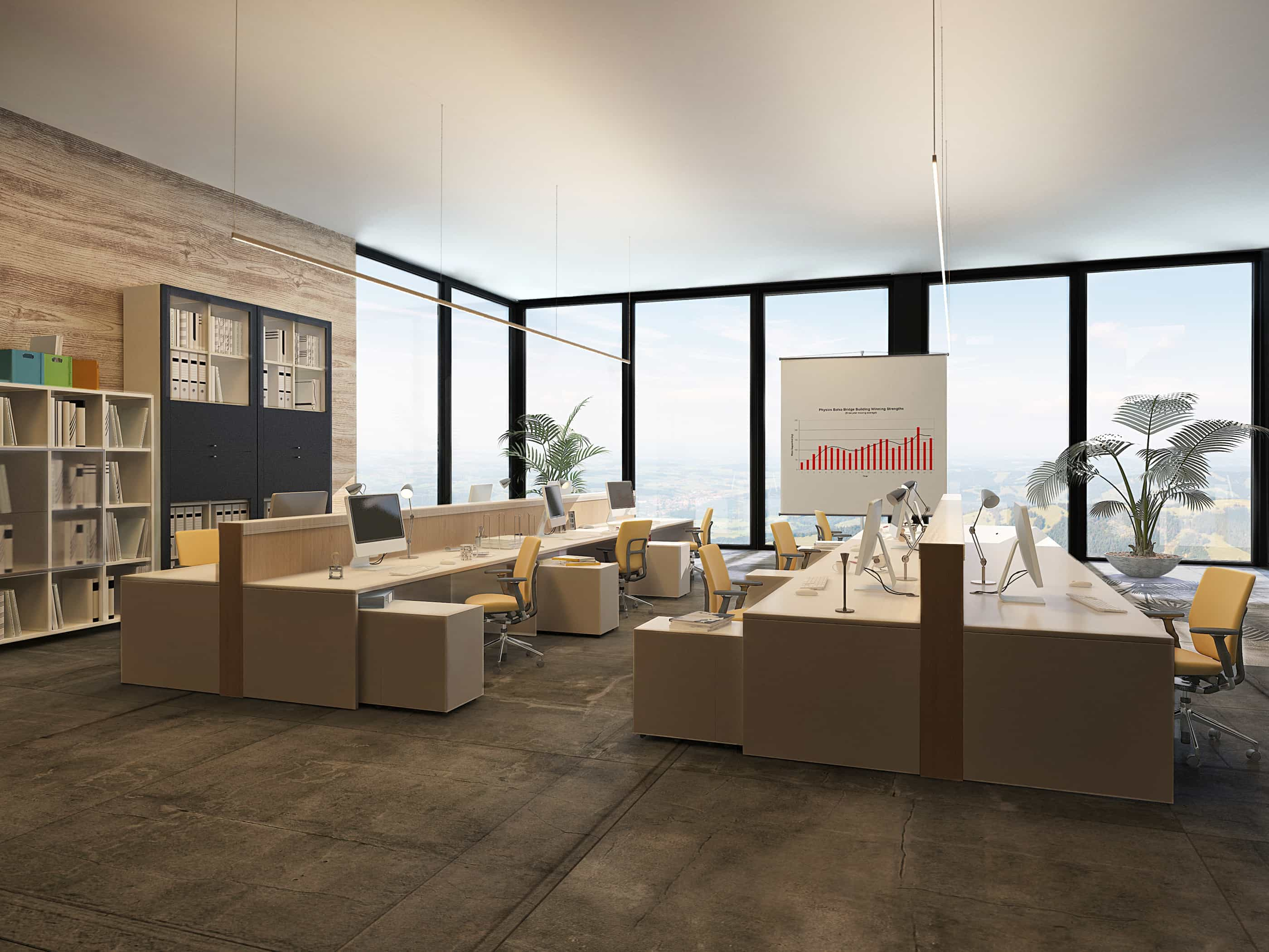 3D Rendering of Large open-plan commercial office with rows of w