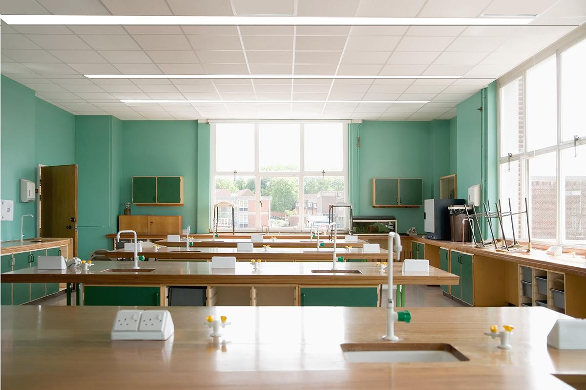 Empty science classroom